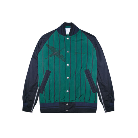 DR. WOO STRIPED SHIRTING BLOUSON - GREEN/ NAVY