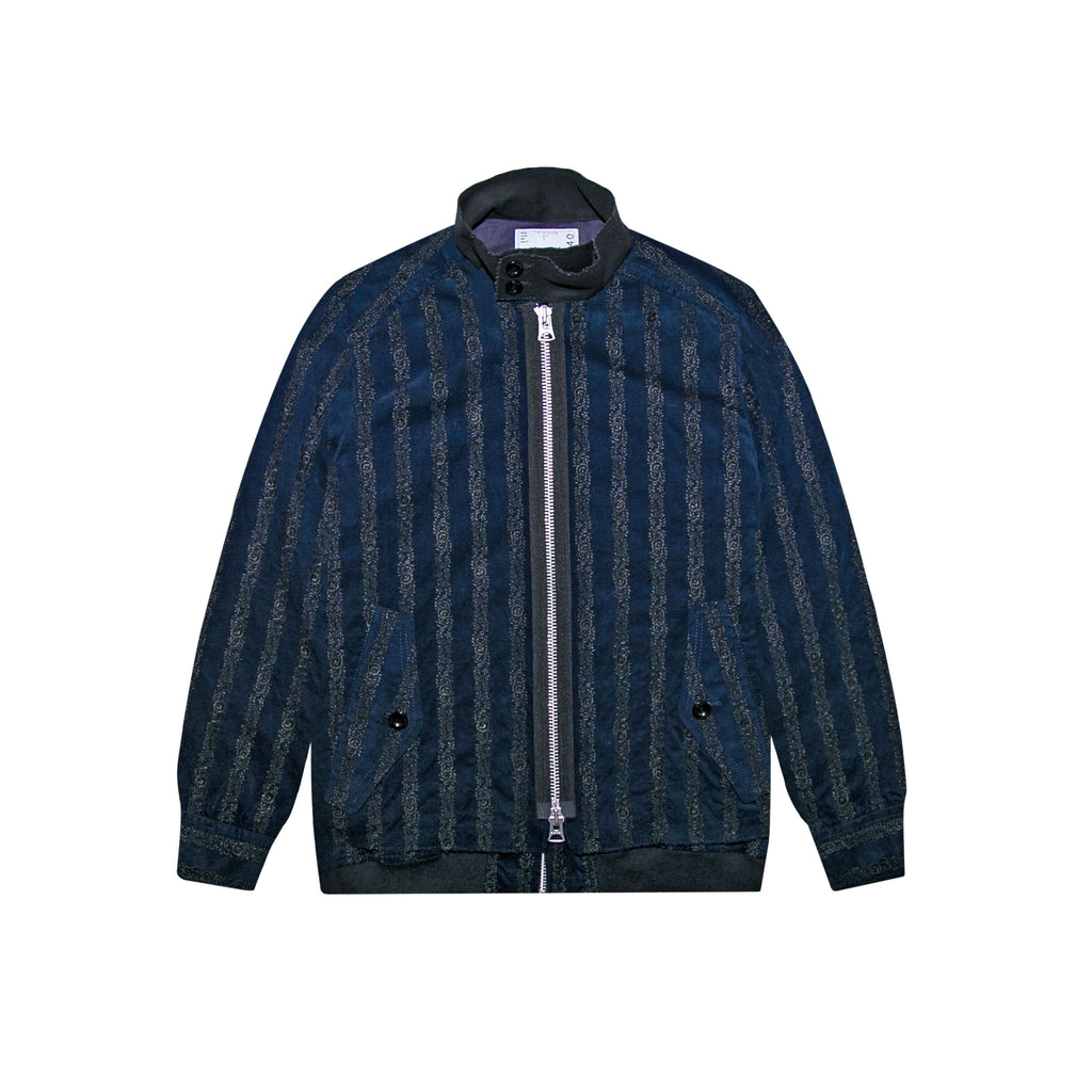 FLORAL EMBROIDERED CORDUROY JACKET - NAVY