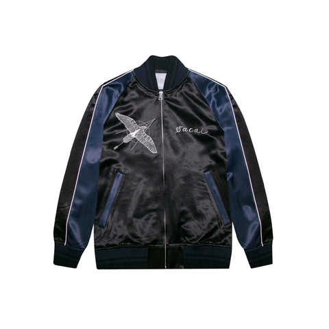 SACAI DR. WOO STADIUM JACKET - BLACK/ NAVY