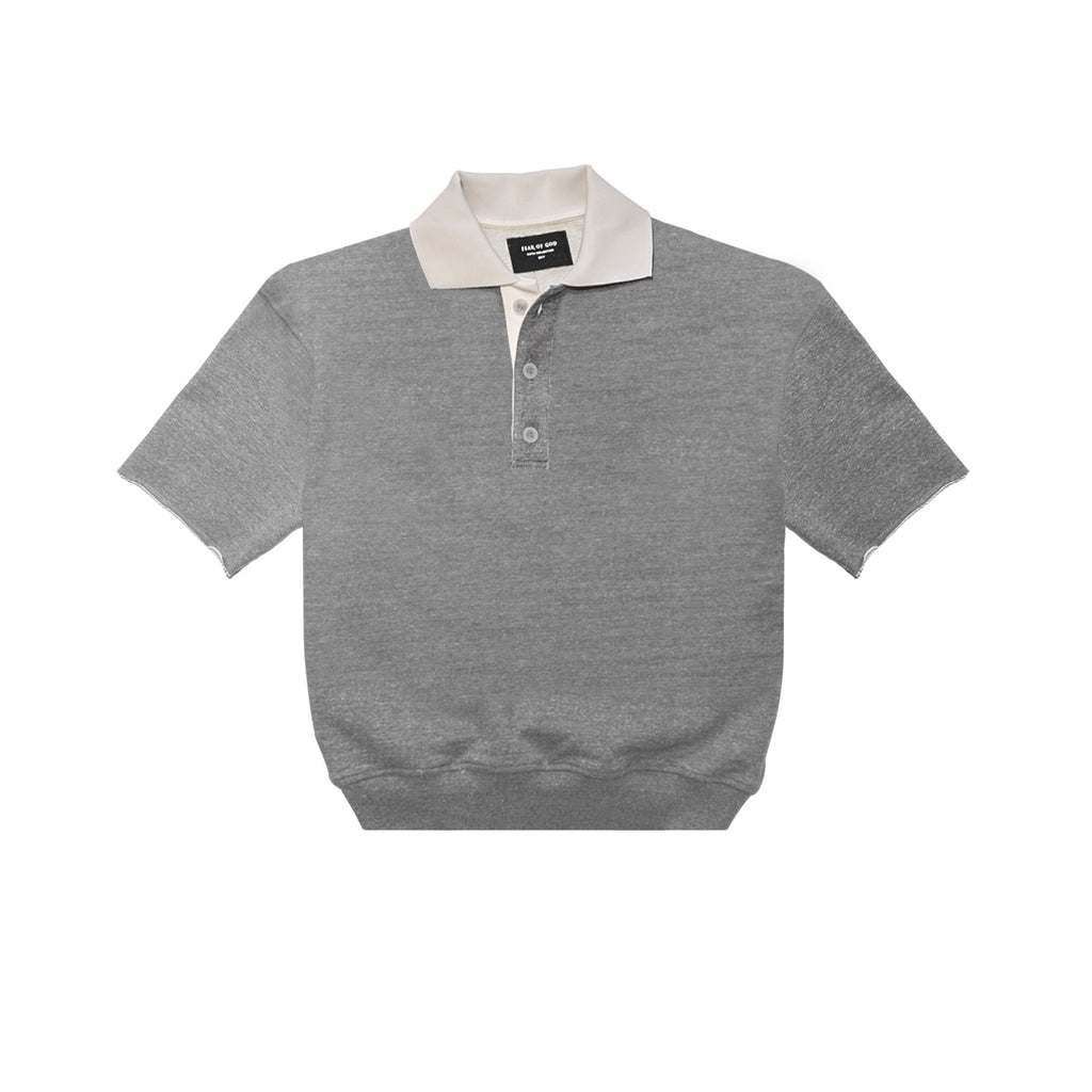 HEAVY TERRY POLO - HEATHER GREY