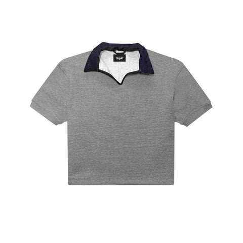 HEAVY TERRY V-NECK POLO - HEATHER GREY
