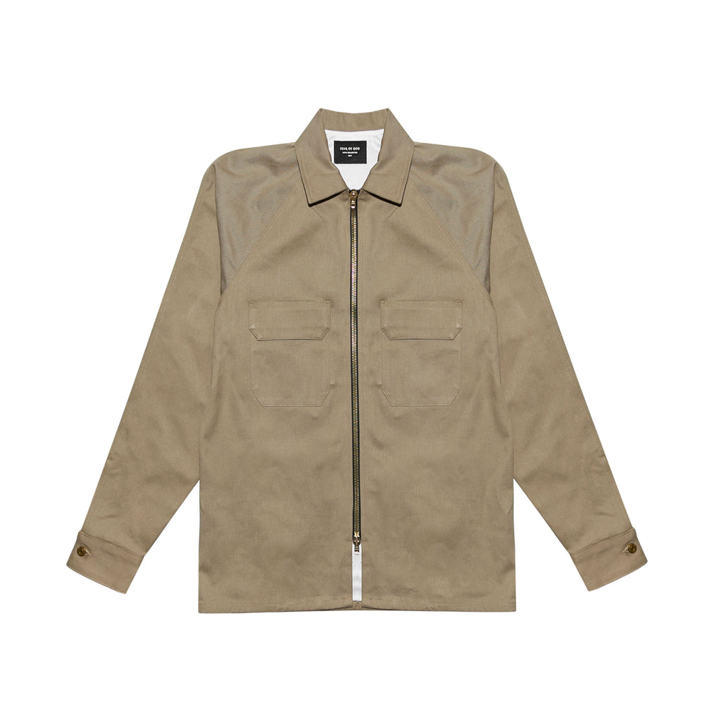 FEAR OF GOD 5TH COLLECTION SELVEDGE DENIM CHINO WORK SHIRT - KHAKI