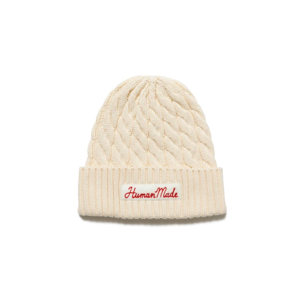 HUMAN MADE COTTON CABLE BEANIE - WHITE