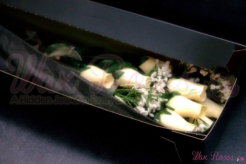 Cream Dozen Bouquet | Jewelry Roses®-Wax Dipped Roses-The Official Website of Jewelry Candles - Find Jewelry In Candles!