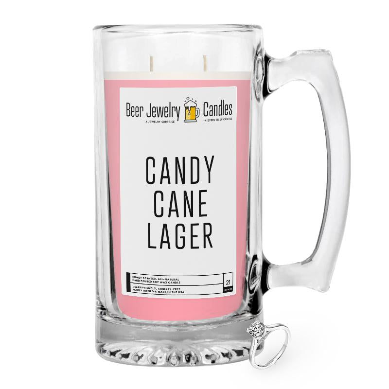 Candy Cane Lager Beer Jewelry Candle