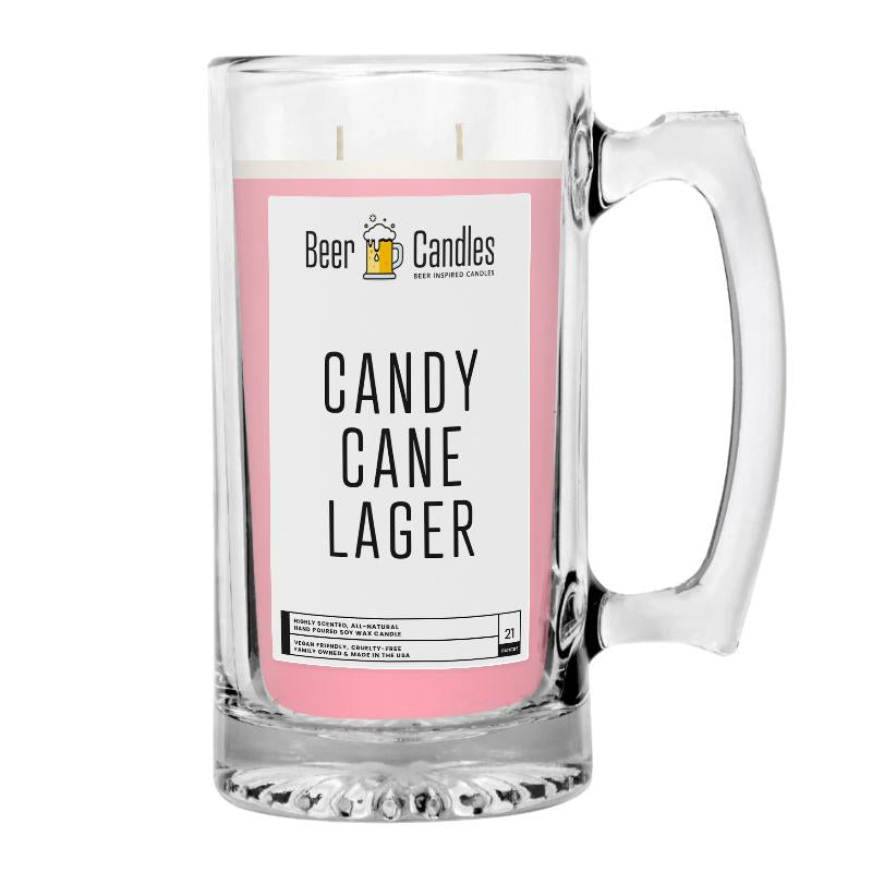 Candy Cane Lager Beer Candle