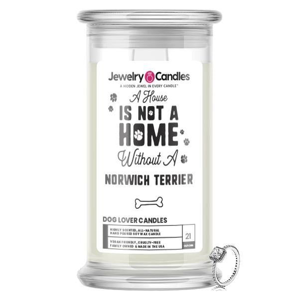 A house is not a home without a Norwich Terrier Dog Jewelry Candle