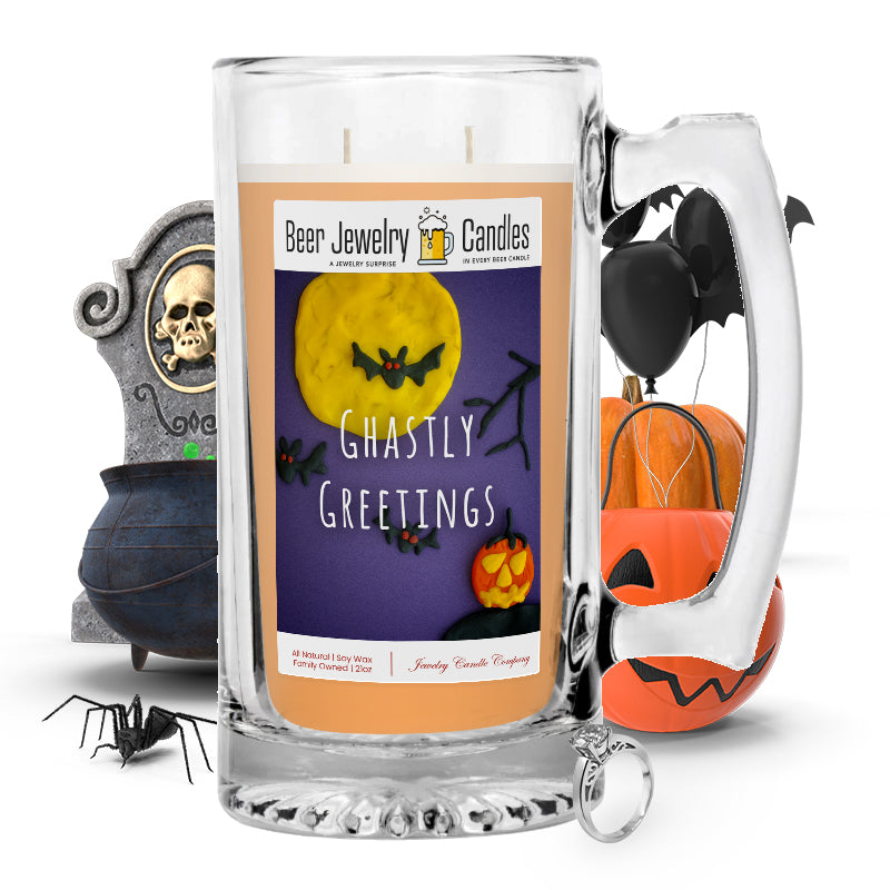 Ghastly greetings Beer Jewelry Candle