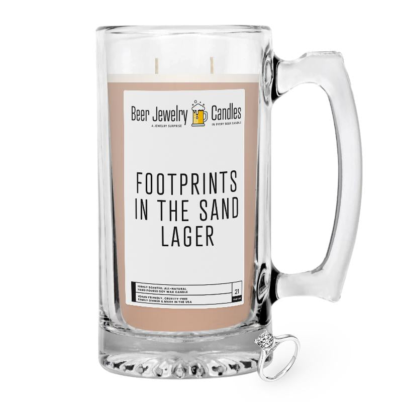 Footprints in the Sand Lager Beer Jewelry Candle