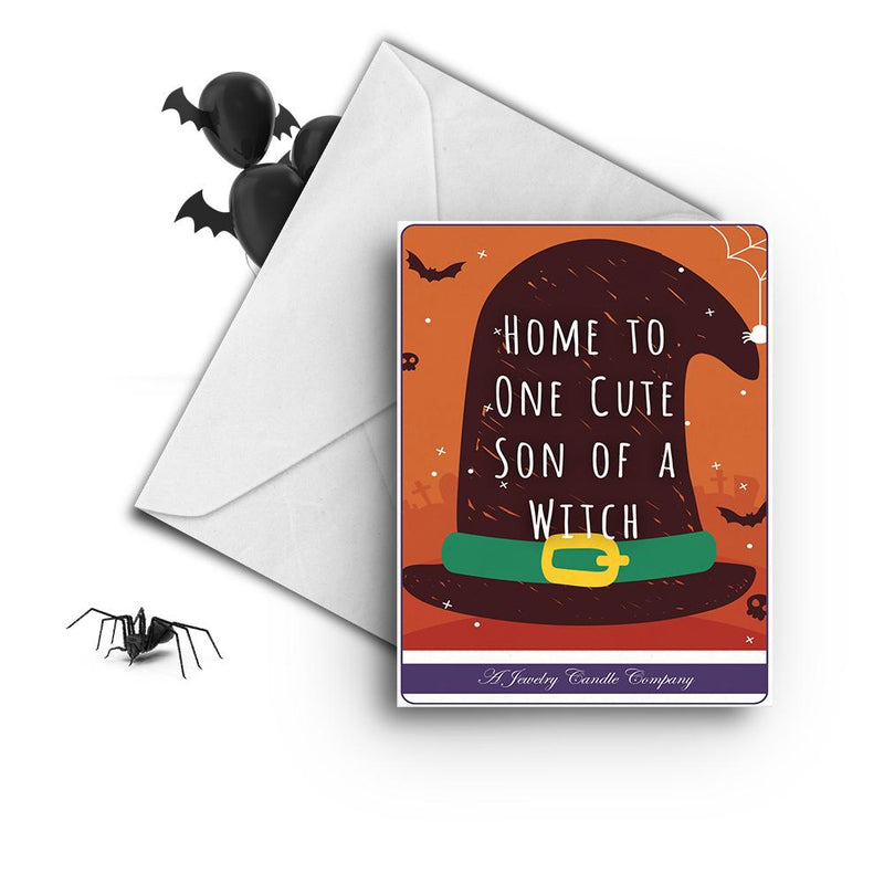 Home to one cute son of a witch Greetings Card