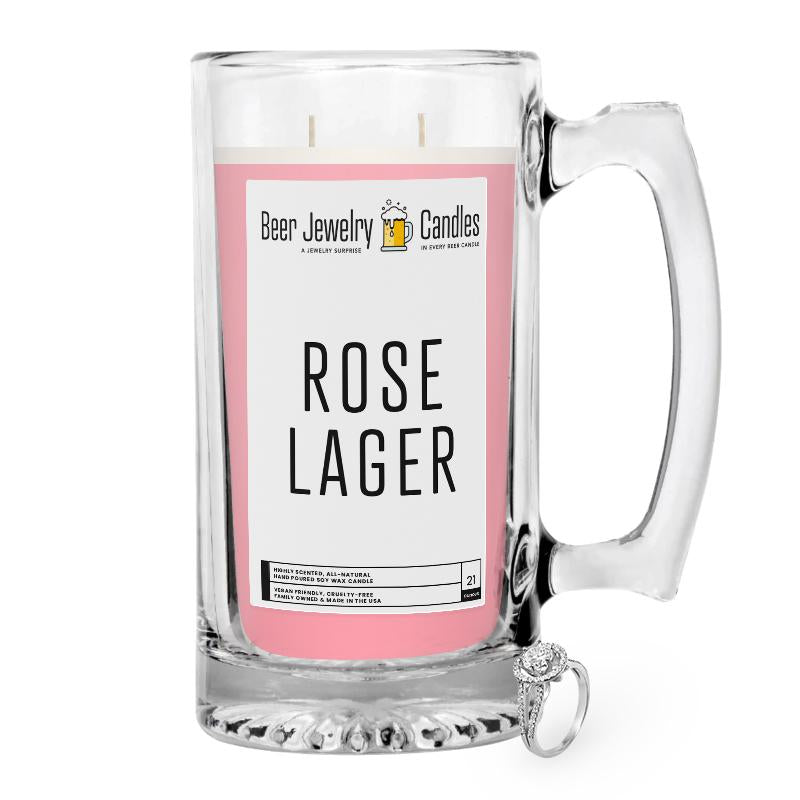 Rose Lager  Beer Jewelry Candle