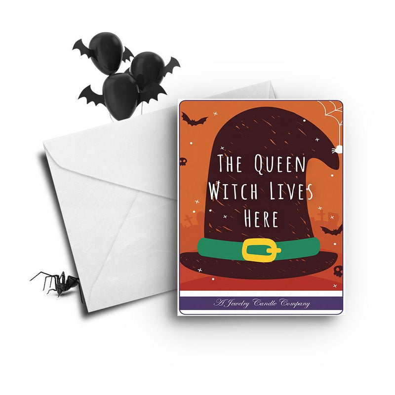 The queen witch lives here Greetings Card
