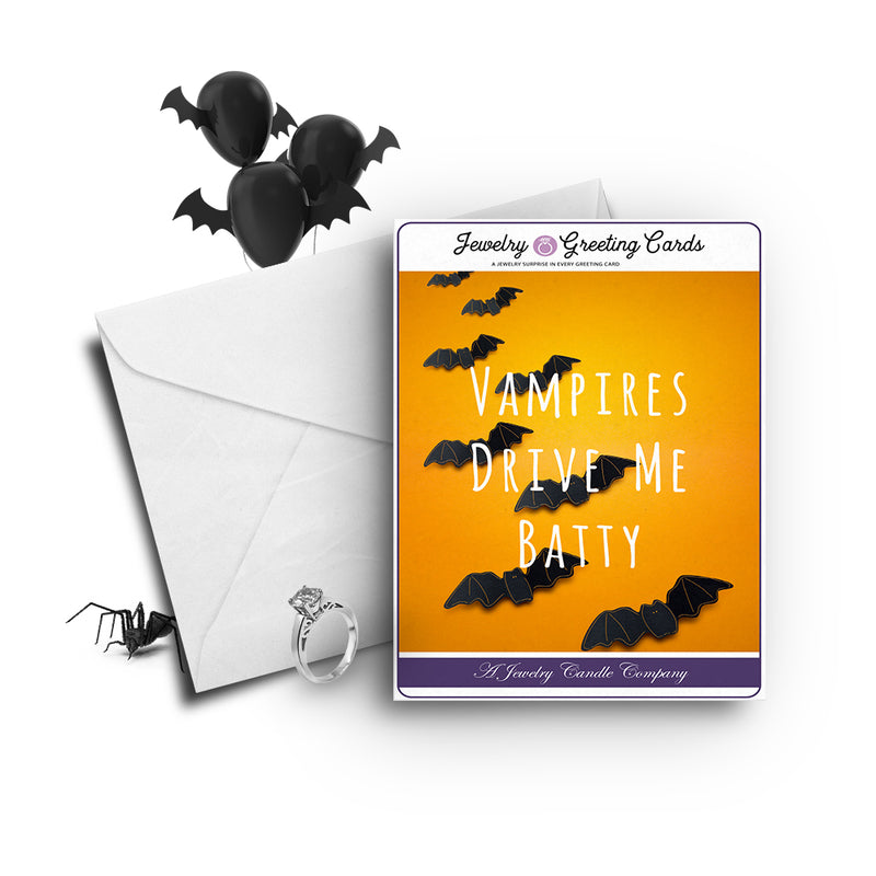 Vampires drive me batty Jewelry Greetings Card