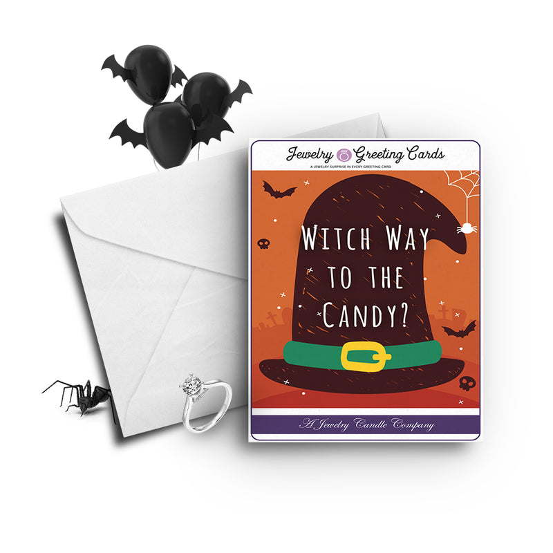 Witch way to the candy? Jewelry Greetings Card