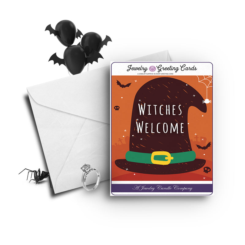 Witches Welcome Jewelry Greetings Card