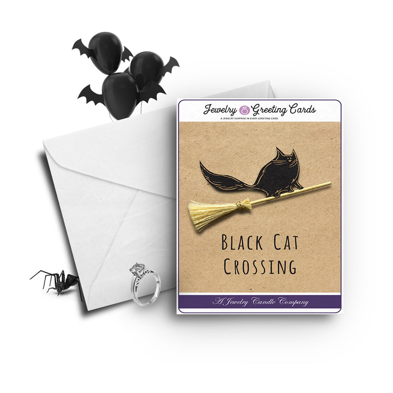 Black cat crossing Jewelry Greetings Card