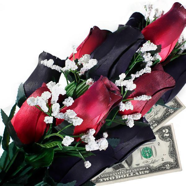 Black & Red Bouquet | Pearl Roses®-Cash Roses®-The Official Website of Jewelry Candles - Find Jewelry In Candles!