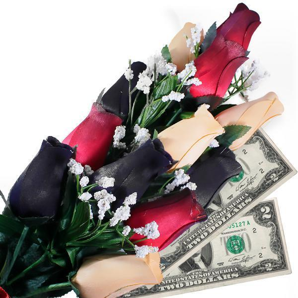 Red, Black & Peach Bouquet | Pearl Roses®-Cash Roses®-The Official Website of Jewelry Candles - Find Jewelry In Candles!