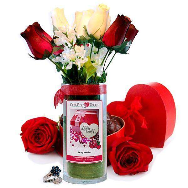 Be My Valentine Greeting Roses-Wax Dipped Roses-The Official Website of Jewelry Candles - Find Jewelry In Candles!