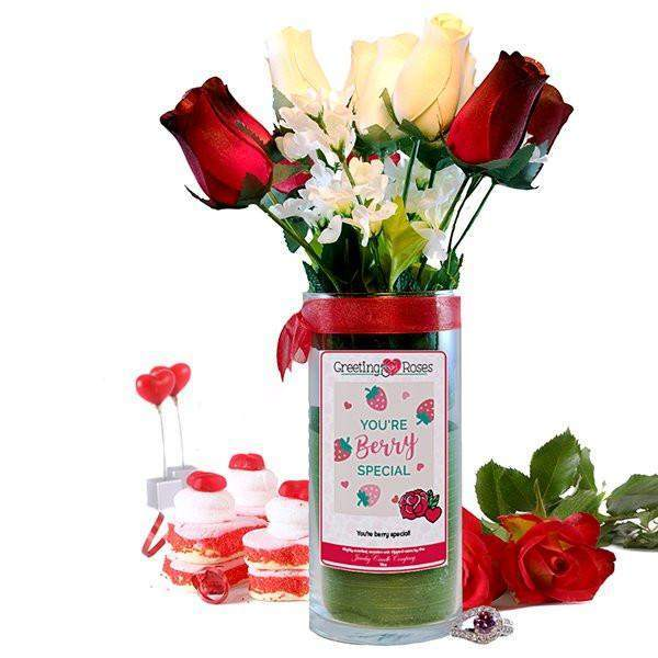 You're Berry Special! Greeting Roses-Wax Dipped Roses-The Official Website of Jewelry Candles - Find Jewelry In Candles!