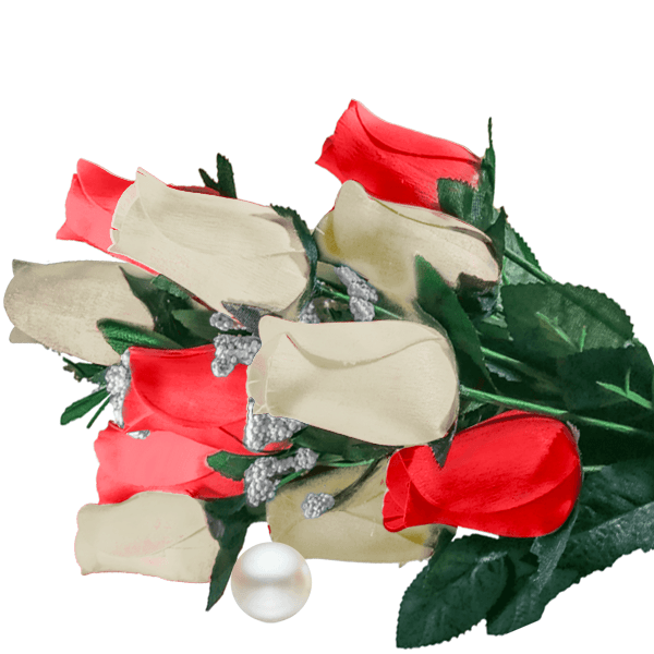 Cream & Red Bouquet Pearl Roses