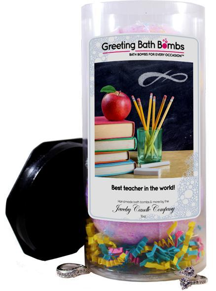Best Teacher In The World! | Greeting Bath Bombs®-Jewelry Bath Bombs-The Official Website of Jewelry Candles - Find Jewelry In Candles!