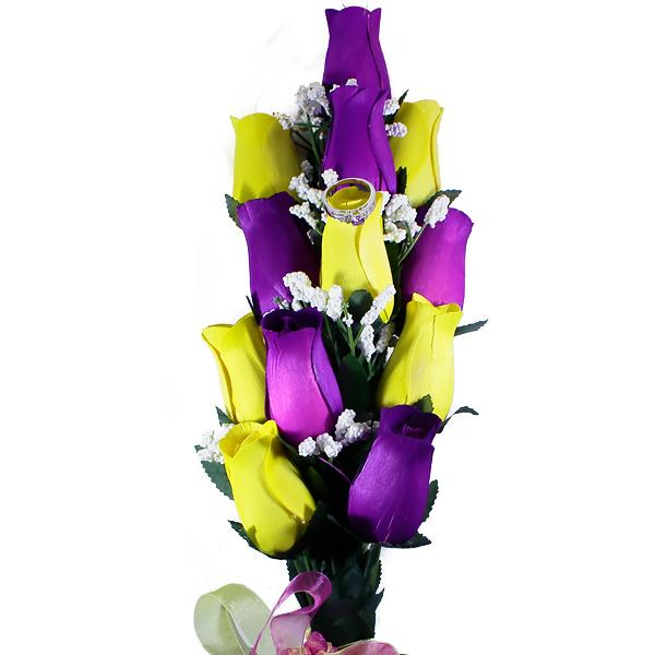 Purple & Yellow Bouquet | Jewelry Roses®-Jewelry Roses®-The Official Website of Jewelry Candles - Find Jewelry In Candles!