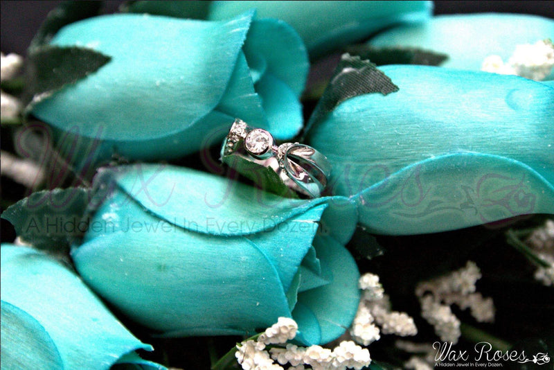 Blue Dozen Ring Roses - Choose Your Own Ring Size With Every Dozen!-Ring Roses-The Official Website of Jewelry Candles - Find Jewelry In Candles!