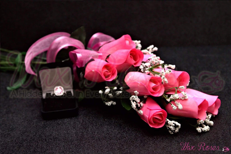 Pink Dozen Ring Roses - Choose Your Own Ring Size With Every Dozen!-Ring Roses-The Official Website of Jewelry Candles - Find Jewelry In Candles!