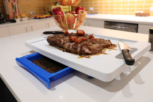 Set of 2 Dripless Cutting Boards 2 In 1 System With Digital Meat Thermometer