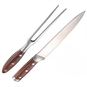 Stainless Steel Carving Knife and Fork Set With Wooden Handles
