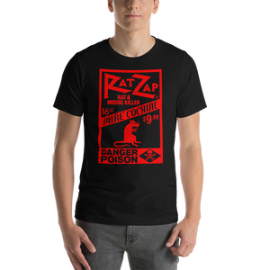 Red Design on Black Unisex Cotton T-Shirt