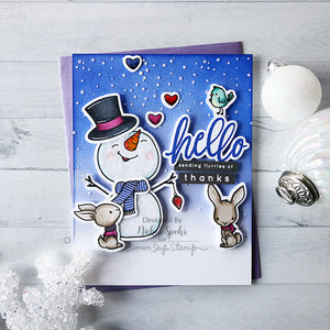 Slimline Card Swap - 20 Slimline Cards - Honey Bee Stamps - Snow Buddies Kit