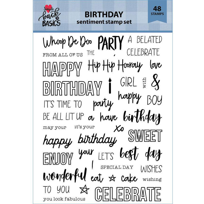 Back To Basics 6x8 Birthday Sentiment Stamp Set