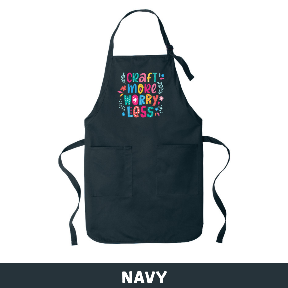 Navy - Apron - Craft More Worry Less