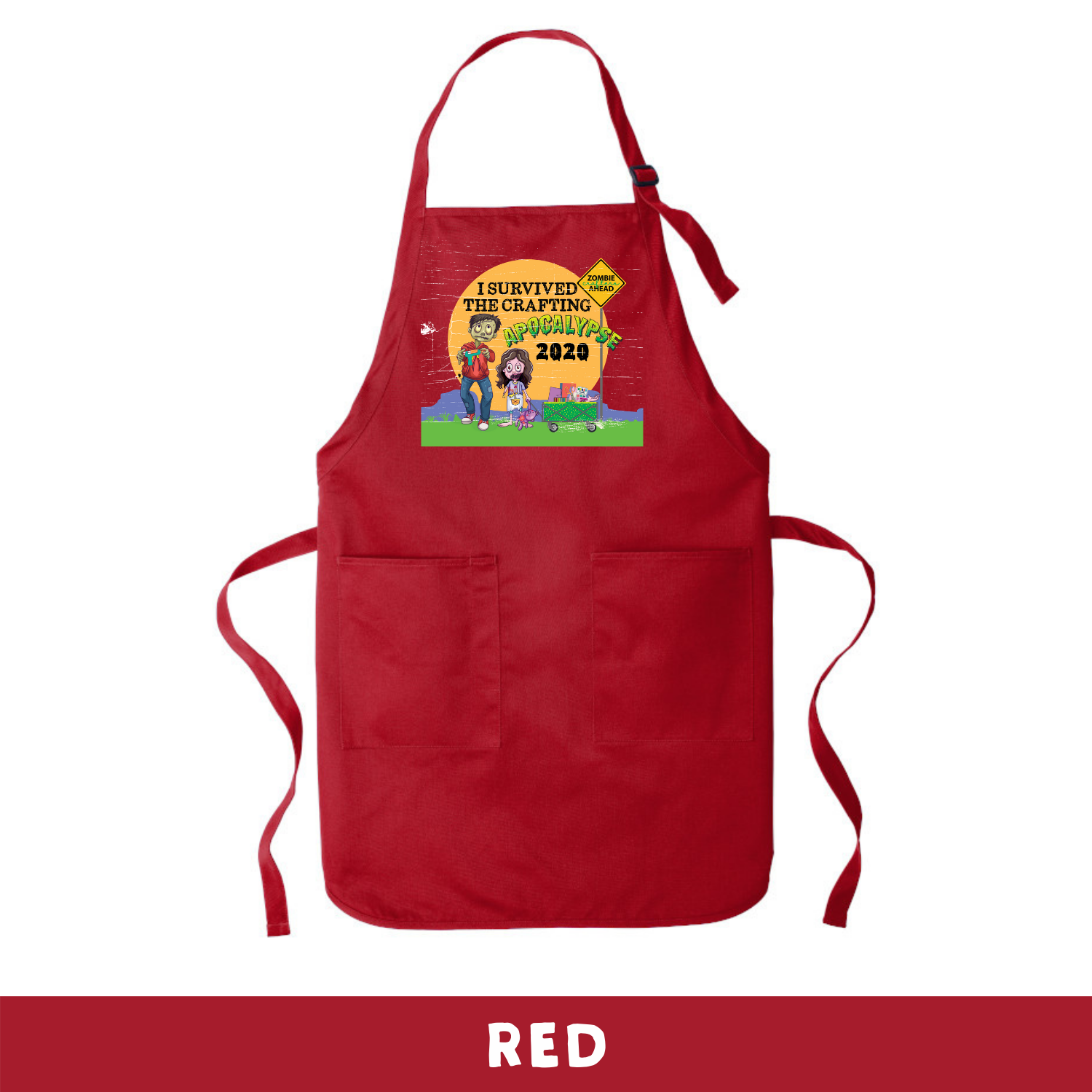Red - Apron - I Survived The 2020 Crafting Apocalypse