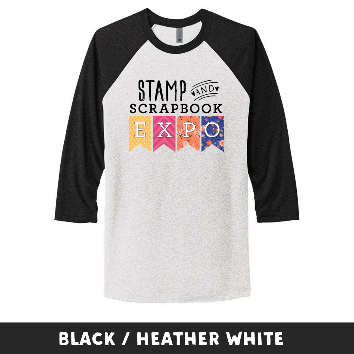 Black Heather White - Unisex Tri-Blend 3/4 Sleeve Raglan Tee - Stamp & Scrapbook Expo Color Logo