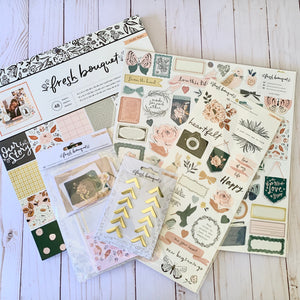 Slimline Card Swap - 20 Slimline Cards - Crate Paper - Fresh Bouquet - For Scrapbooking