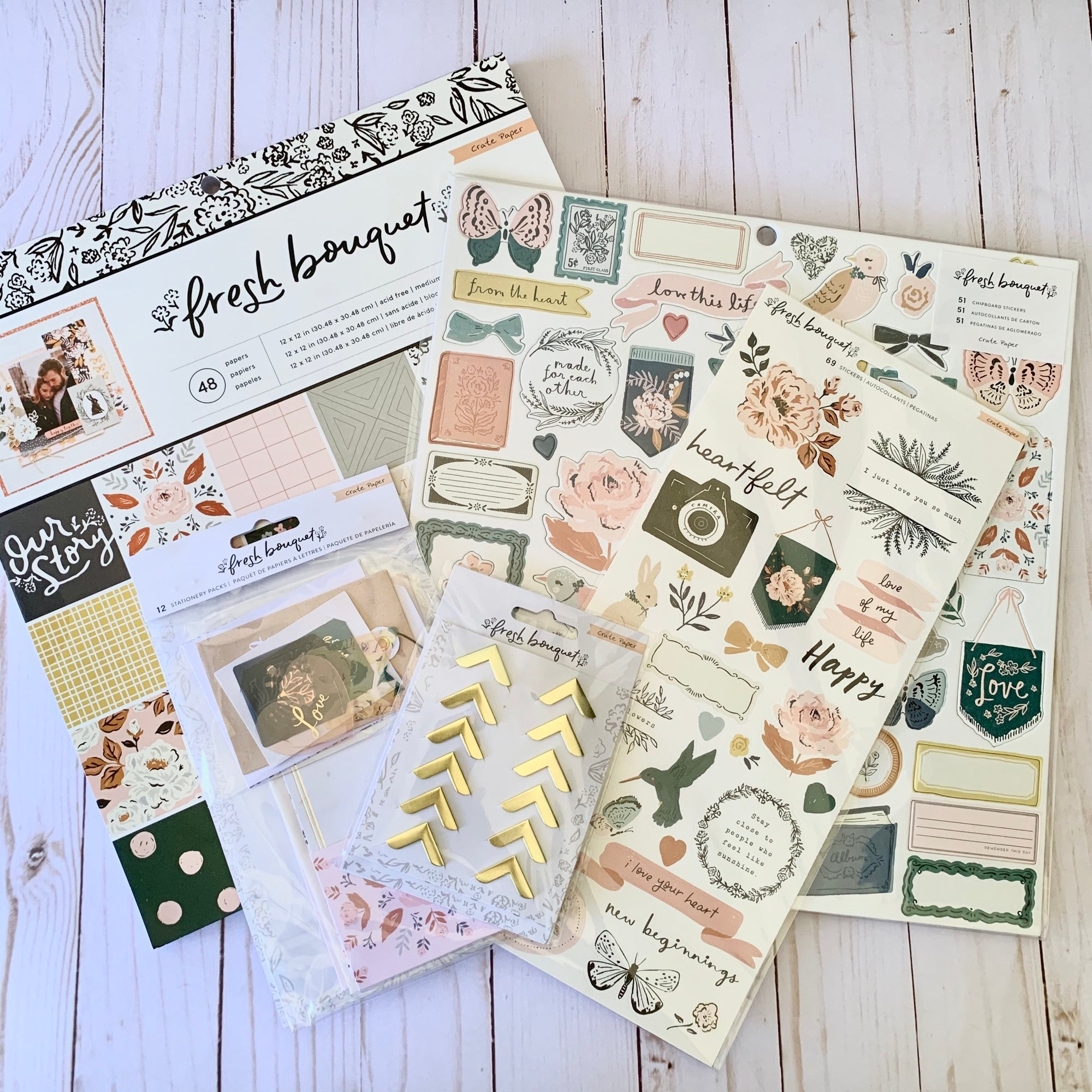 Card Swap - 30 Cards - Crate Paper - Fresh Bouquet - For Scrapbooking