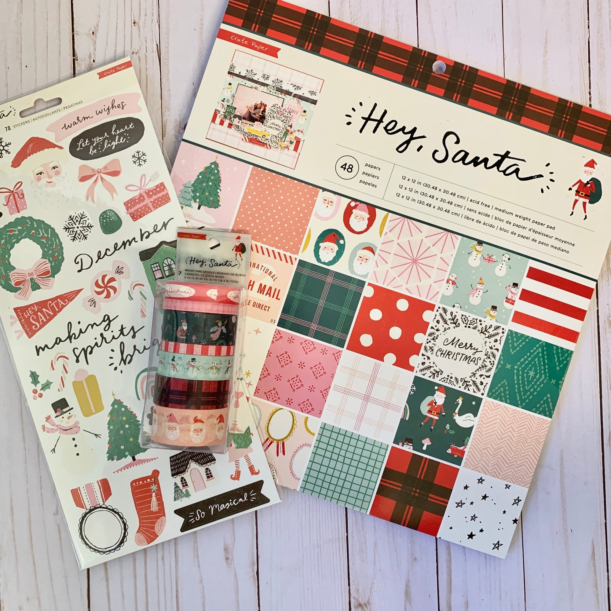 Slimline Card Swap - 20 Slimline Cards - Crate Paper - Hey Santa - For Scrapbooking