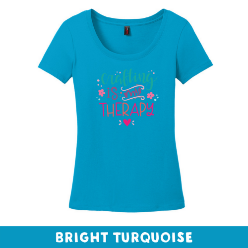 Bright Turquoise - Woman's Cut Scoop Neck - Crafting Is My Therapy
