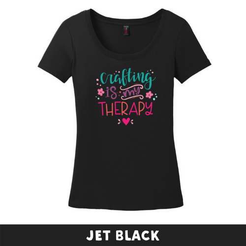 Jet Black - Woman's Cut Scoop Neck - Crafting Is My Therapy