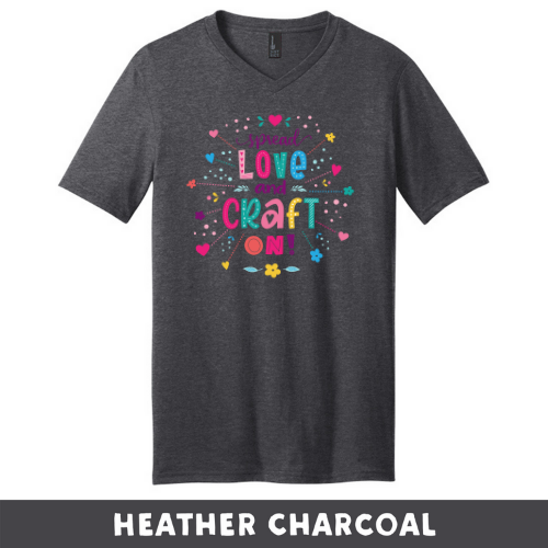 Heathered Charcoal - Extra Soft Unisex V-Neck - Spread Love and Craft On