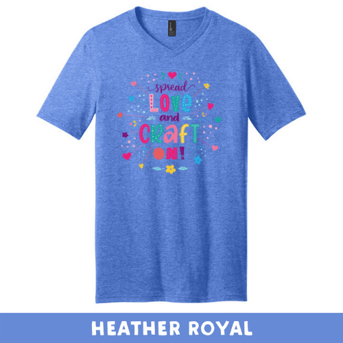 Heathered Royal - Extra Soft Unisex V-Neck - Spread Love and Craft On