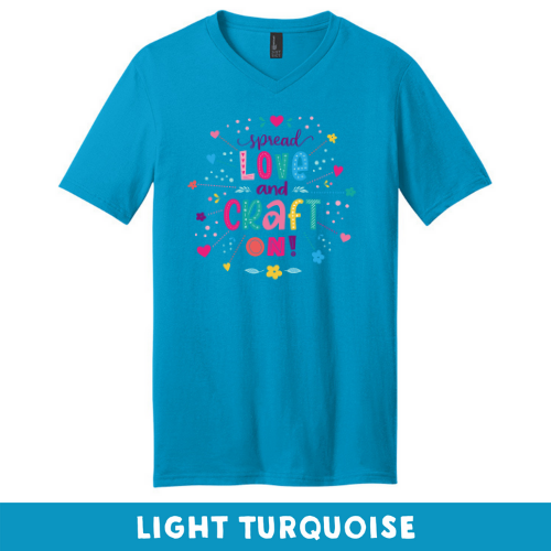 Light Turquoise - Extra Soft Unisex V-Neck - Spread Love and Craft On