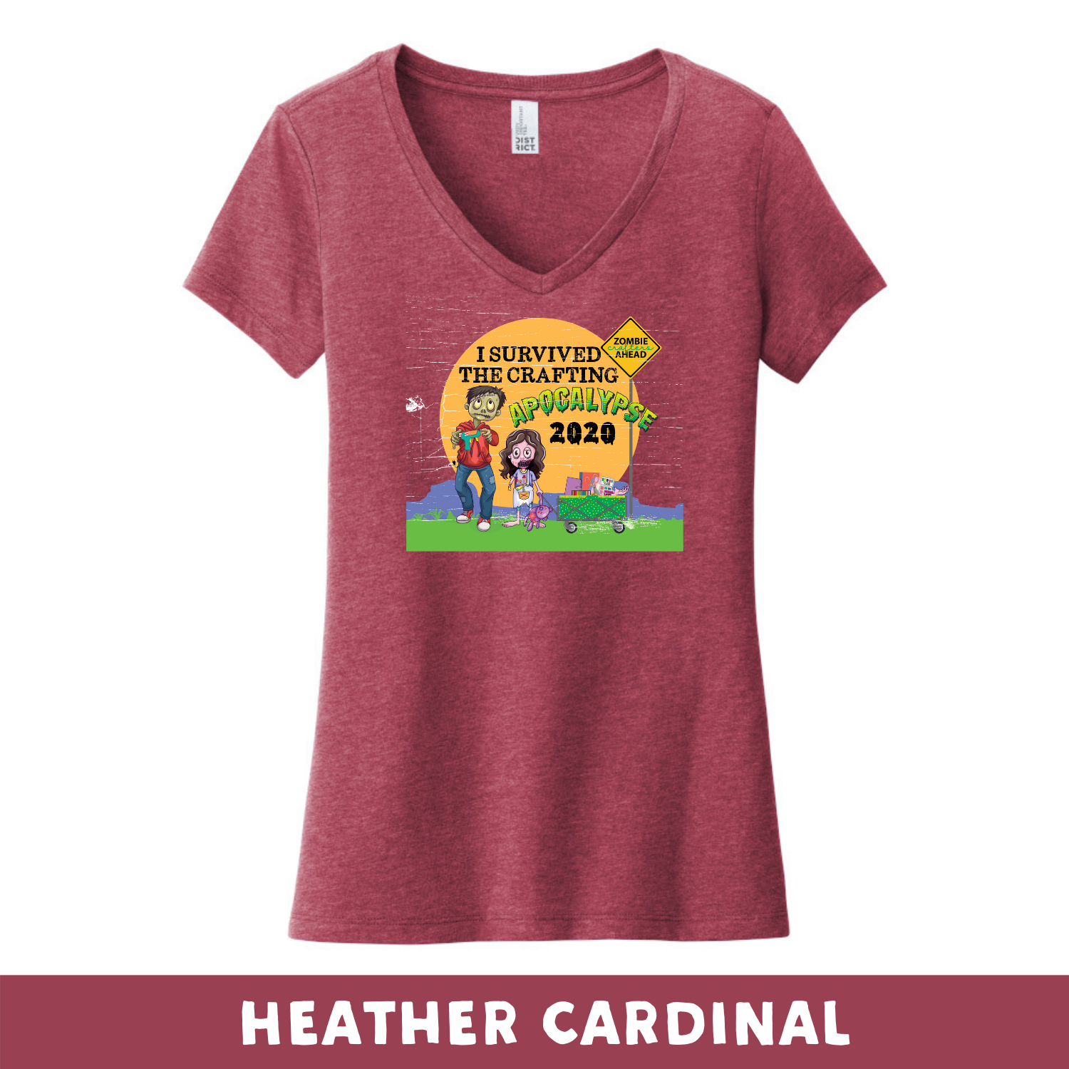 Heather Cardinal - Woman's Cut V-Neck - Heathered & Frosts - I Survived The 2020 Crafting Apocalypse