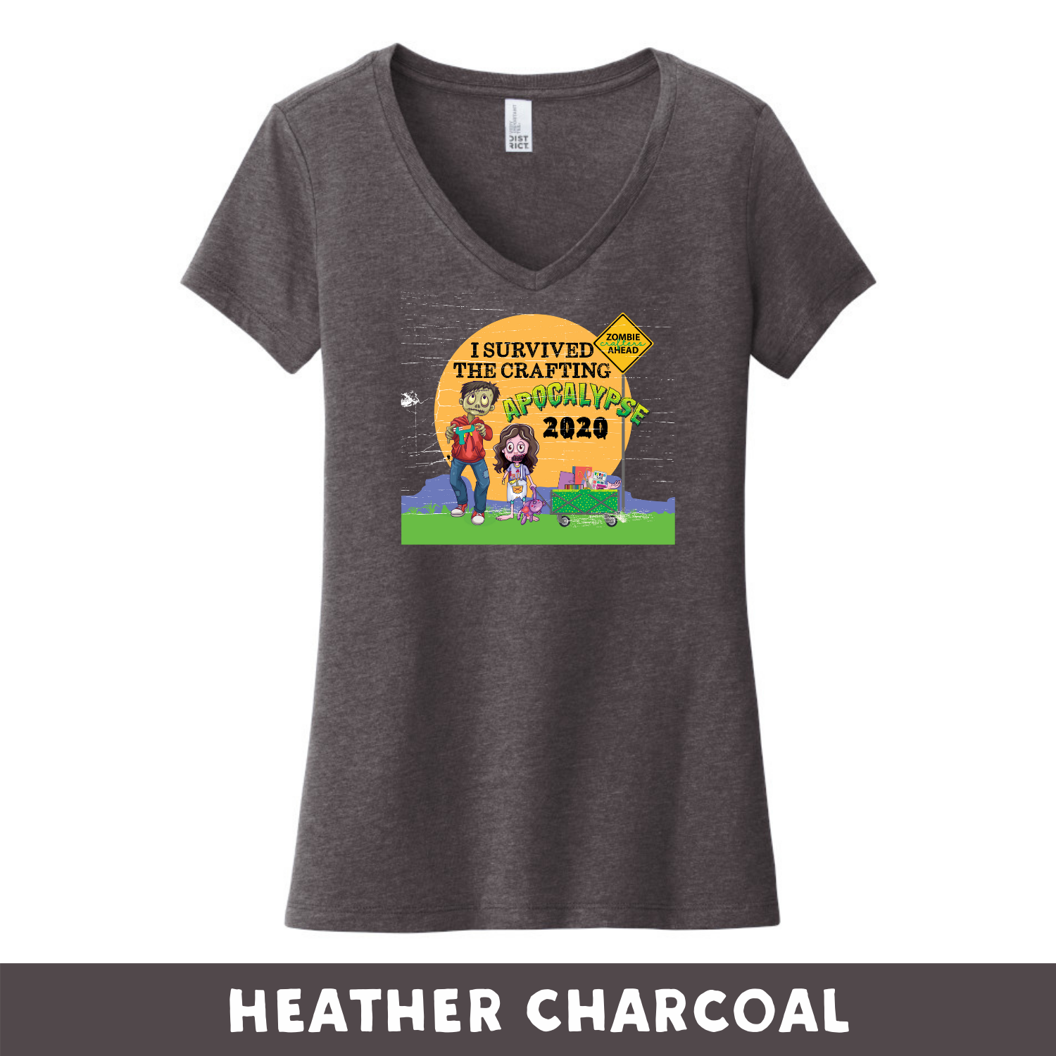 Heather Charcoal - Woman's Cut V-Neck - Heathered & Frosts - I Survived The 2020 Crafting Apocalypse