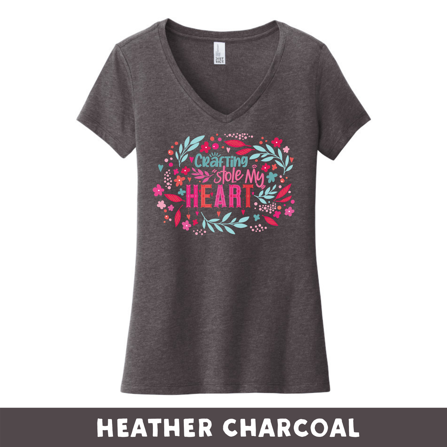 Heathered Charcoal - Woman's Cut V-Neck - Crafting Stole My Heart