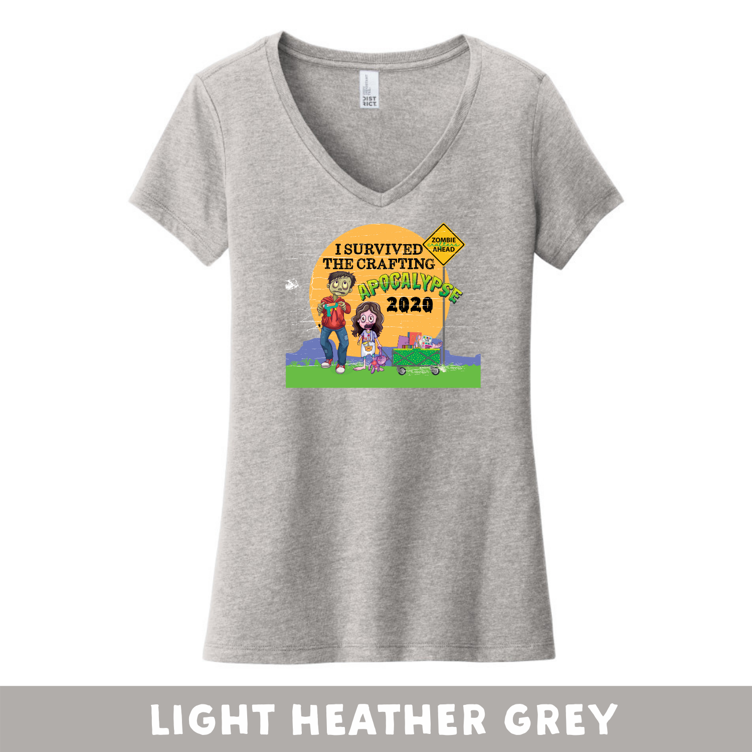 Light Heather Grey - Woman's Cut V-Neck - Heathered & Frosts - I Survived The 2020 Crafting Apocalypse