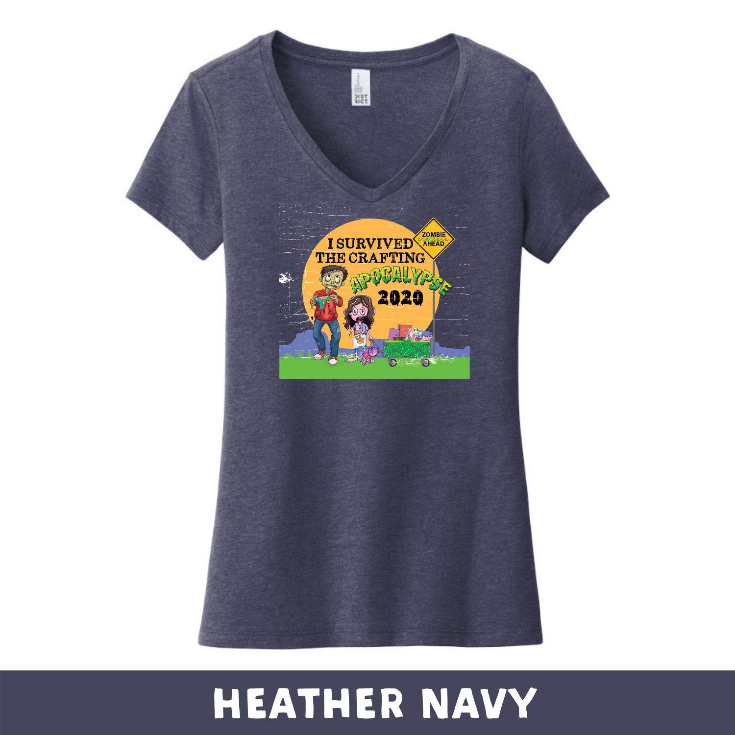 Heather Navy - Woman's Cut V-Neck - Heathered & Frosts - I Survived The 2020 Crafting Apocalypse